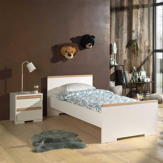 Kinder Jugendbett in Weiß und Buche Nachttisch (2-teilig)