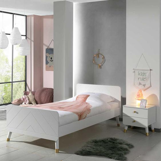Kinder Jugendbett in Weiß und Goldfarben Nachtkonsole (2-teilig)