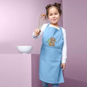 Kinder-Küchenschürze - blau - 100% Baumwolle -