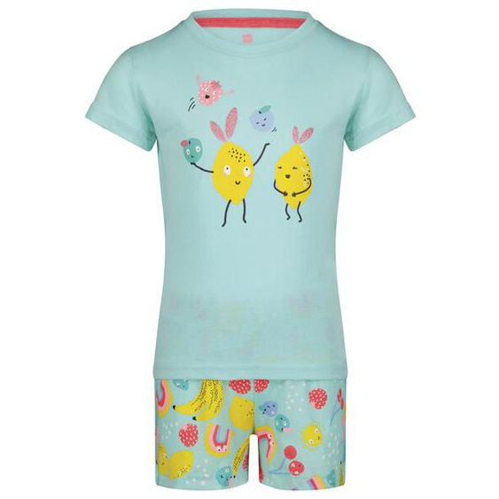Kinder-Kurzpyjama, Obstgesichter Aqua