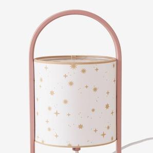 Kinder Nachttischlampe mit Griff, Sterne rosa bedruckt