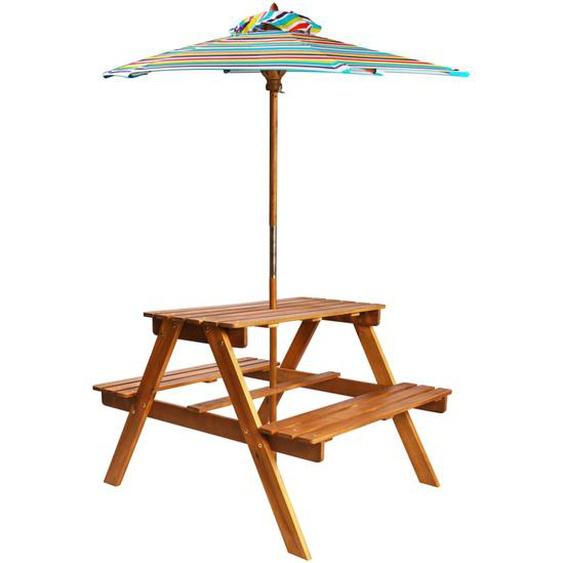 Kinder-Picknicktisch Sonnenschirm 79x90x60cm Massivholz Akazie