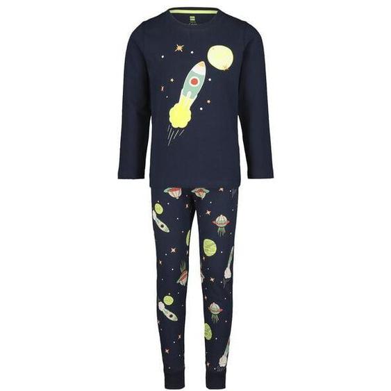 Kinder-Pyjama, Weltraum, Leuchtende Details Blau