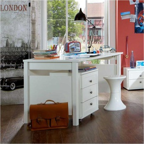 Kinder-Schreibtisch mit Rollcontainer 140 cm breit (zweiteilig)