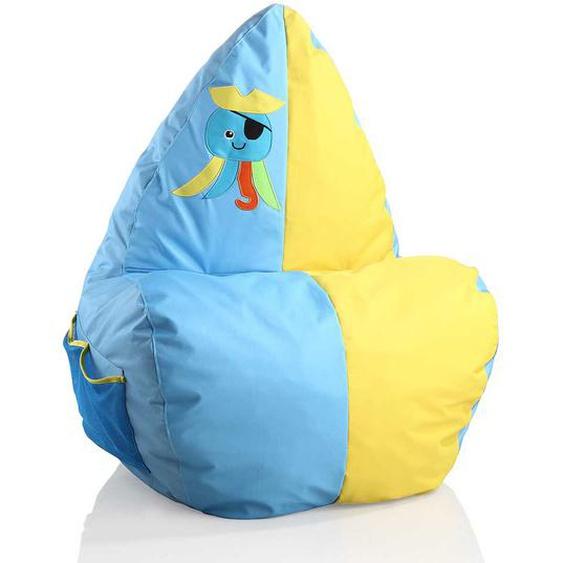 Kinder Sitzsack in Blau und Gelb Octopus Piraten Motiv