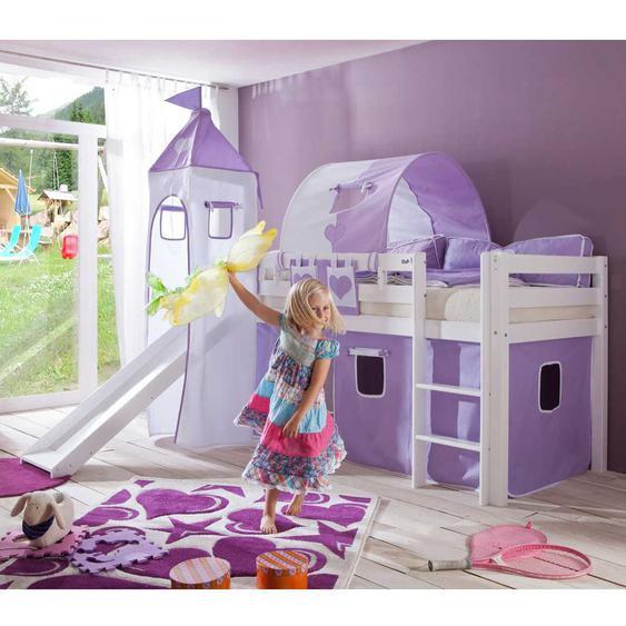 Kinder-Spielbett in lila-weißen Textilien Rutsche