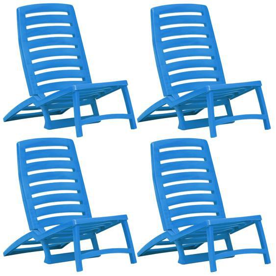Kinder-Strandstühle Klappbar 4 Stk. Blau Kunststoff