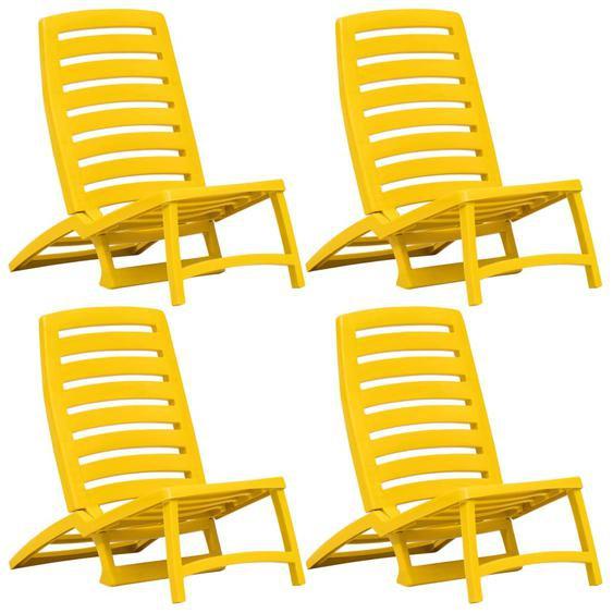 Kinder-Strandstühle Klappbar 4 Stk. Gelb Kunststoff