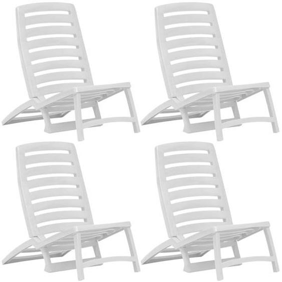 Kinder-Strandstühle Klappbar 4 Stk. Weiß Kunststoff