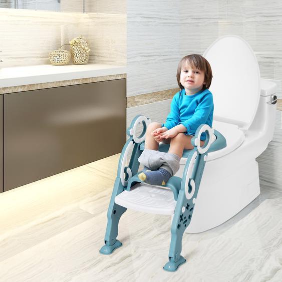Kinder Toilettensitz faltbar Kinder Toilettentrainer Töpfchentrainer mit Leiter und Griffe Grün