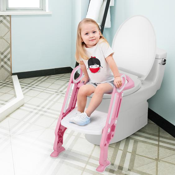 Kinder Toilettensitz höhenverstellbar Töpfchentraining Toilettensitz faltbarer Toilettentrainer Sitz Rosa