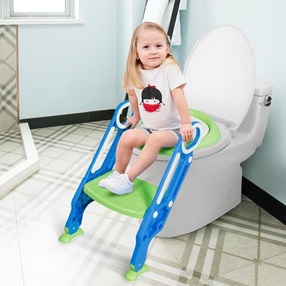 Kinder Toilettensitz höhenverstellbar Töpfchentraining Toilettensitz mit Tritthocker Leiter Kindertoilette Blau und Grün