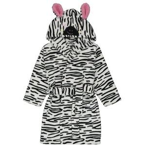 Kinder-Zebra-Bademantel Weiß