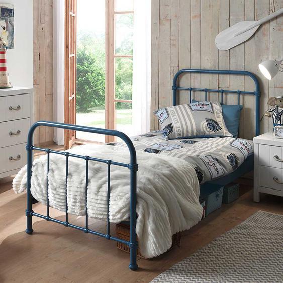 Kinderbett in Blau Metall