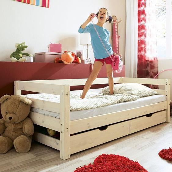 Kinderbett Kids Paradise Basic, weiß mit Holzstruktur, 90x200 cm