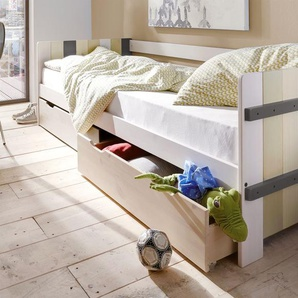 Kinderbett Kids Paradise Laubhütte, weiß mit Holzstruktur, 90x200 cm