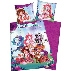 Kinderbettwäsche  »Enchantimals«, 80x80 cm, rosa, aus 100% Baumwolle