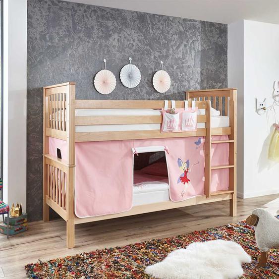Kinderetagenbett aus Buche Massivholz Vorhang im Fee Design