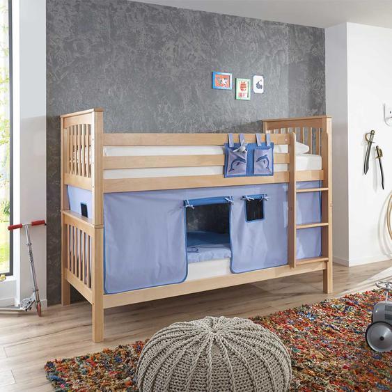 Kinderetagenbett aus Buche Massivholz Vorhang in Dunkelblau