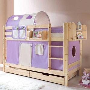 Kinderetagenbett in Kieferfarben Vorhang Set