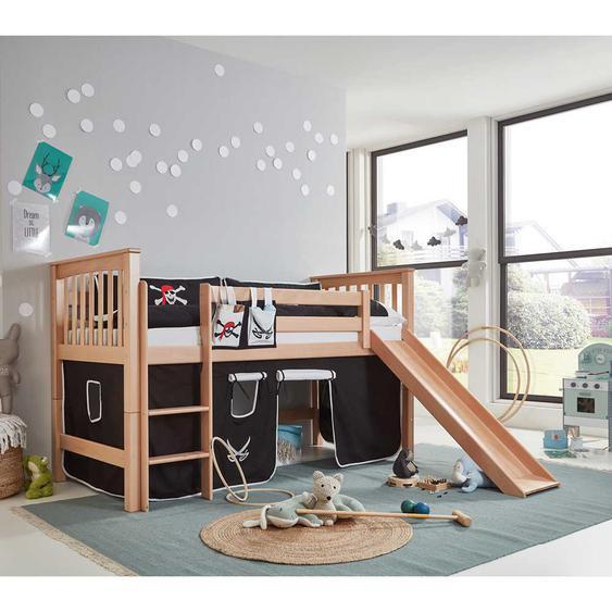 Kinderhochbett aus Buche Massivholz Pirat Vorhang und Rutsche