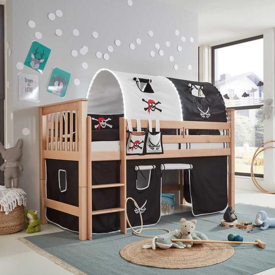 Kinderhochbett im Piraten Look Weiß Buche massiv