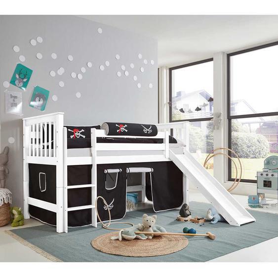 Kinderhochbett in Weiß Buche massiv Rutsche und Vorhang im Piraten Design