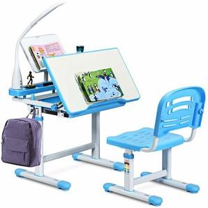 COSTWAY Kinderschreibtisch hoehenverstellbar, Schuelerschreibtisch mit Lampe, Kindermoebel neigungsverstellbar, Kindertisch mit Stuhl, Schreibtisch mit Schublade Blau