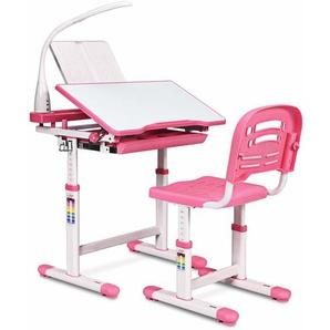 COSTWAY Kinderschreibtisch hoehenverstellbar, Schuelerschreibtisch mit Lampe, Kindermoebel neigungsverstellbar, Kindertisch mit Stuhl, Schreibtisch mit Schublade Rosa