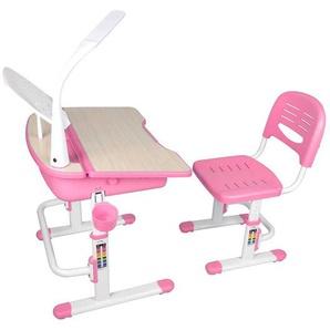Kinderschreibtisch mit Stuhl in Rosa Weiß höhenverstellbar (zweiteilig)