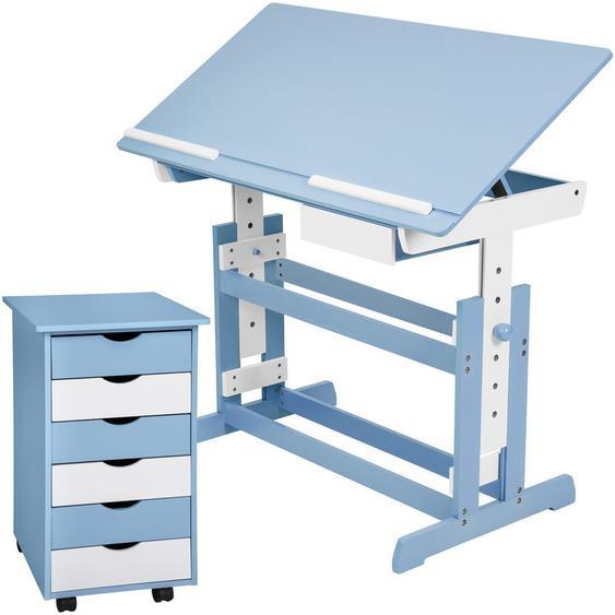 Kinderschreibtisch und Rollcontainer - Computertisch, Bürotisch - blau - TECTAKE