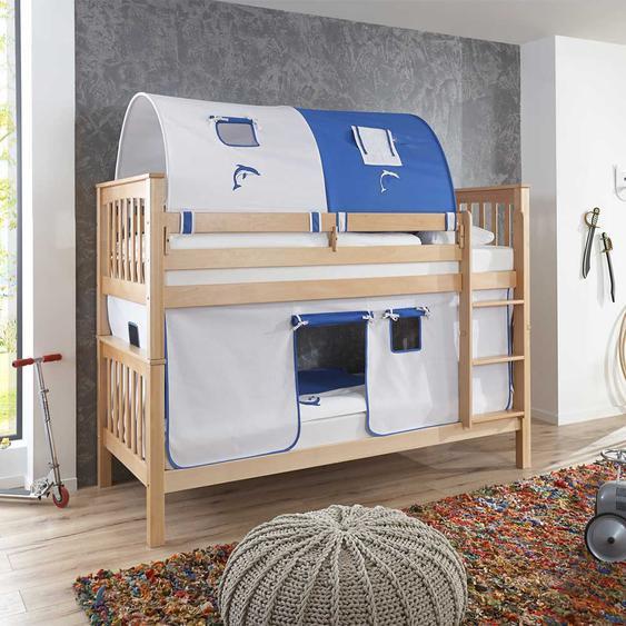 Kinderspielbett aus Buche Massivholz Tunnel und Vorhang in Blau Weiß