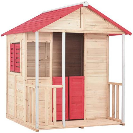 Kinderspielhaus Tannenholz Rot