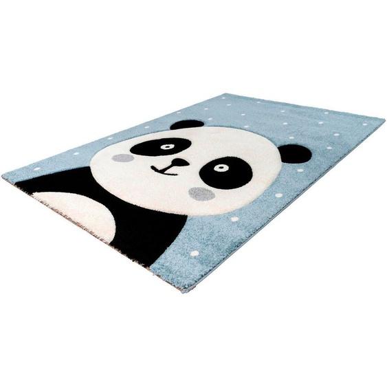 LALEE Kinderteppich Amigo 322, rechteckig, 15 mm Höhe, Panda Bär Motiv 2, 80x150 cm, blau Kinder Kinderteppiche mit Teppiche