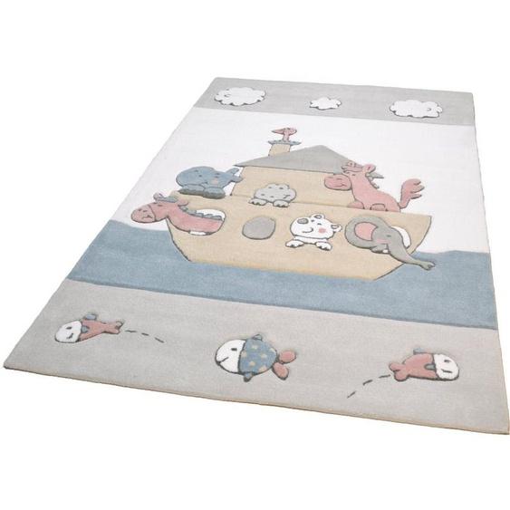 Kinderteppich »Animals on Tour«, THEKO, rechteckig, Höhe 14 mm, Kurzflor, handgearbeiteter Reliefschnitt (Carving), Motiv Arche, Kinderzimmer
