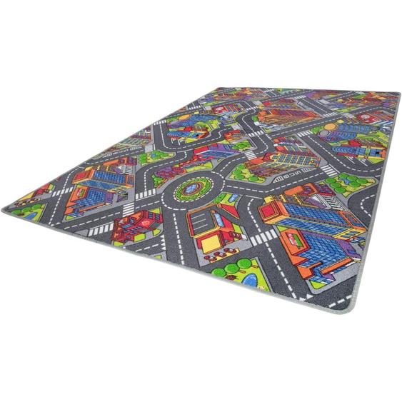 Andiamo Kinderteppich Big City, rechteckig, 7 mm Höhe, Straßen-Spielteppich, Straßenbreite: 8,5 cm 5, 200x200 cm, bunt Kinder Kinderteppiche mit Motiv Teppiche