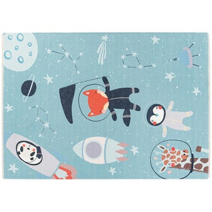 Kinderteppich - blau - Baumwolle - 115 cm | Möbel Kraft