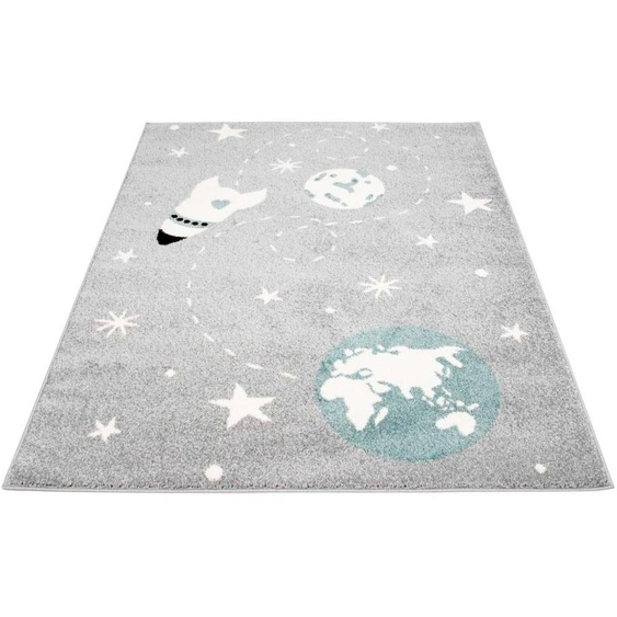 Carpet City Kinderteppich Bubble Kids 1319, rechteckig, 11 mm Höhe, Weltall Rakete, Kurzflor 3, 120x160 cm, grau Kinder Kinderteppiche mit Motiv Teppiche