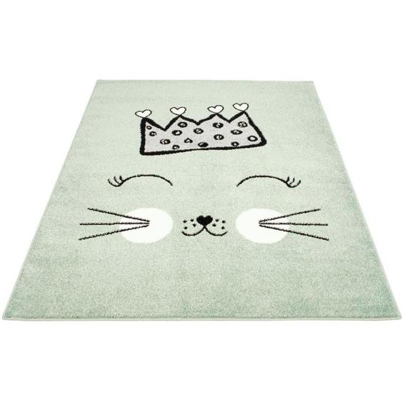 Carpet City Kinderteppich Bubble Kids 1331, rechteckig, 11 mm Höhe, Katzen Design, Kurzflor 31, 140x200 cm, grün Kinder Kinderteppiche mit Motiv Teppiche