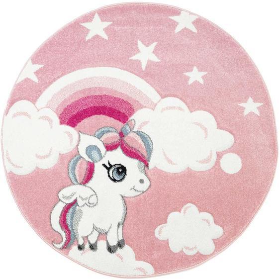 Kinderteppich, Bueno Kids 1450, Carpet City, rund, Höhe 13 mm, maschinell gewebt 10 (Ø 160 cm), mm rosa Kinder Bunte Kinderteppiche Teppiche