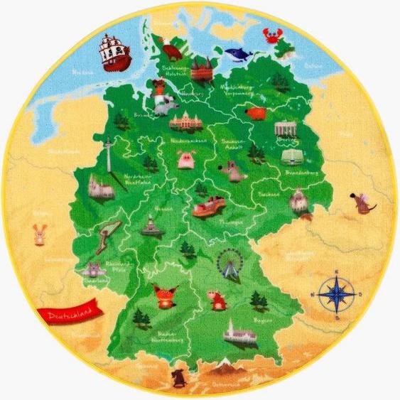 Kinderteppich »DeutschlandKarte DE-1«, Böing Carpet, rund, Höhe 2 mm, Spielteppich, Motiv Deutschlandkarte, Kinderzimmer