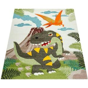 Kinderteppich »Diamond 636«, Paco Home, rechteckig, Höhe 18 mm, 3D-Kinder Design, Dinosaurier Motiv, Kinderzimmer