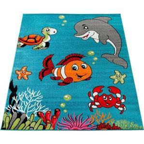 Kinderteppich »ECE 950«, Paco Home, rechteckig, Höhe 14 mm, Kurzflor, Kinder Teppich, Unterwasserwelt, Kinderzimmer