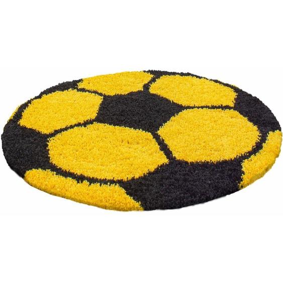 Kinderteppich, Fun 6001, Ayyildiz, rund, Höhe 30 mm, maschinell gewebt 9 (Ø 100 cm), mm gelb Kinder Bunte Kinderteppiche Teppiche