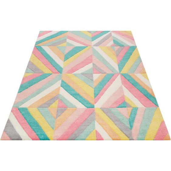 SMART KIDS Kinderteppich Funky Kaleidoscope, rechteckig, 9 mm Höhe, für alle Wohnräume, Konturenschnitt 31, 130x190 cm, rosa Kinder Bunte Kinderteppiche Teppiche