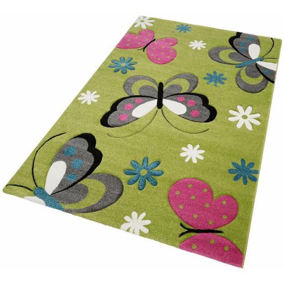merinos Kinderteppich GARTEMPE, rechteckig, 13 mm Höhe, Schmetterlinge, handgearbeiteter Konturenschnitt 4, 160x230 cm, grün Kinder Kinderteppiche mit Motiv Teppiche
