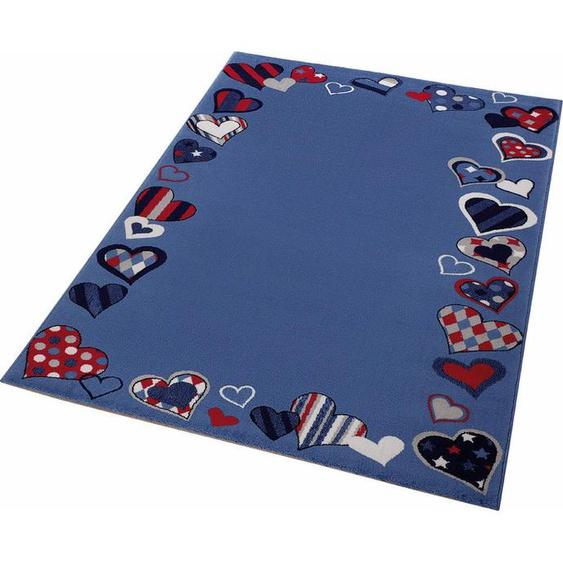 Kinderteppich, Just Hearts, Wecon home, rechteckig, Höhe 8 mm, maschinell gewebt 31, 133x200 cm, mm blau Kinder Bunte Kinderteppiche Teppiche