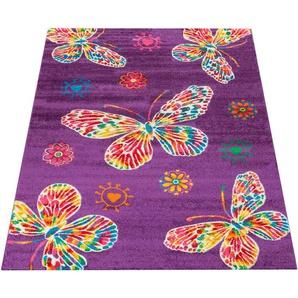 Kinderteppich »Luna 975«, Paco Home, rechteckig, Höhe 18 mm, Kinder Design mit farbenfrohen Schmetterlingen, Kinderzimmer
