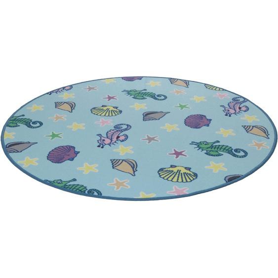 Kinderteppich, Meereswelt Muschel, Living Line, rund, Höhe 7 mm, maschinell gewebt 49 (Ø 300 cm), mm blau Kinder Bunte Kinderteppiche Teppiche