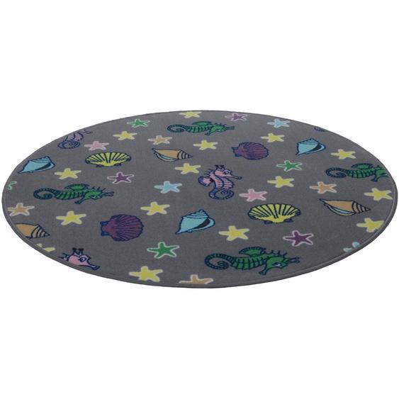 Kinderteppich, Meereswelt Muschel, Living Line, rund, Höhe 7 mm, maschinell gewebt 49 (Ø 300 cm), mm grau Kinder Bunte Kinderteppiche Teppiche